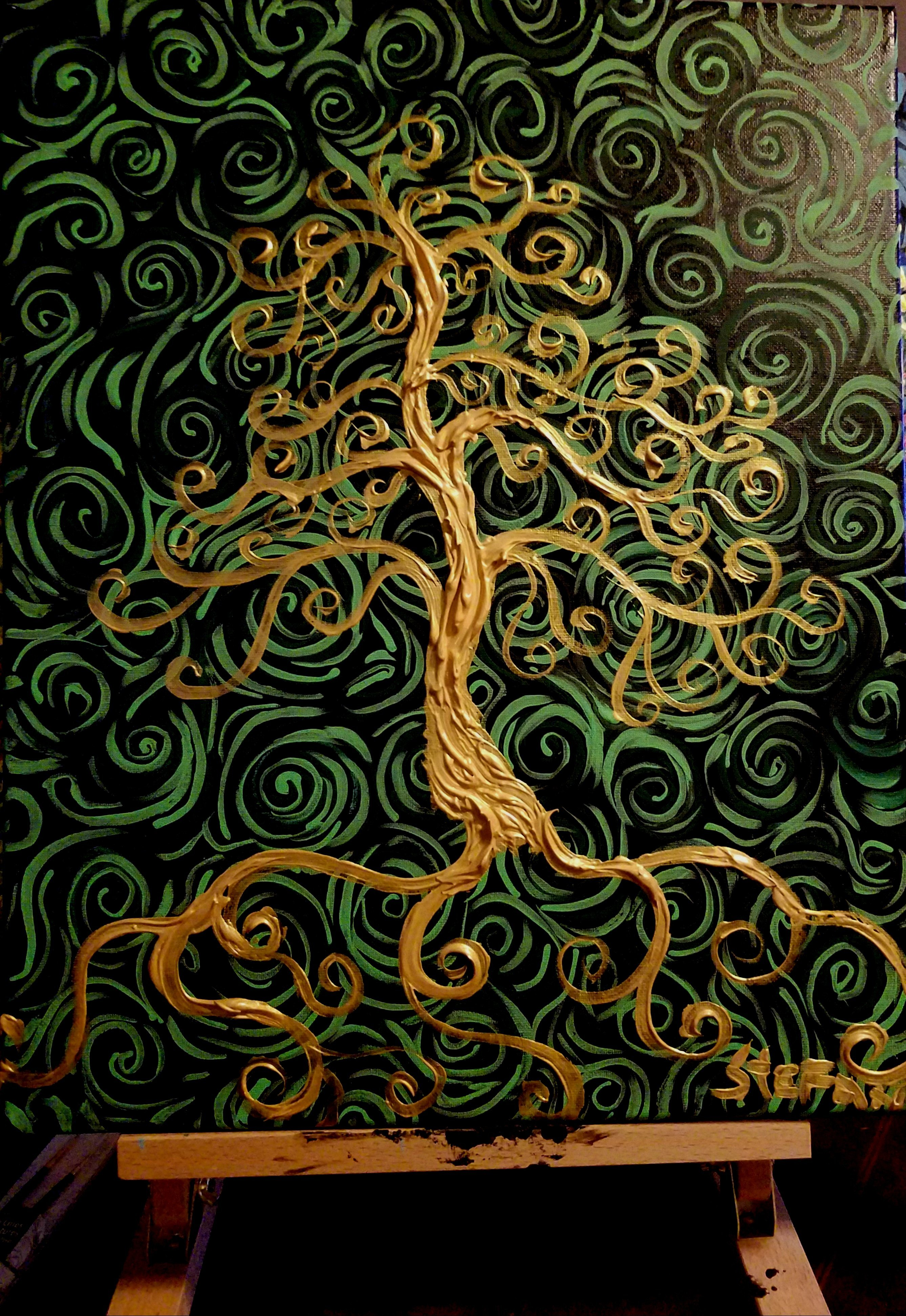 Stefan Duncan: 'golden tree', 2018 Acrylic Painting, Trees. Artist Description: Squiggleism style. Dubbed America s Van Gogh. ...