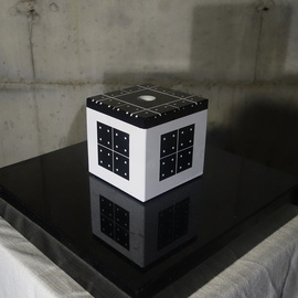 Duncan Laurie: 'Radionic Cube H1', 2016 Granite Sculpture, Abstract. Artist Description:   4aEURx4aEURWhite lacquer on polished black gabbro ( basalt granite stone) A One drilled hole for a vial. Base not included. For more information see artists statement and visit www. duncanlaurie. com  ...