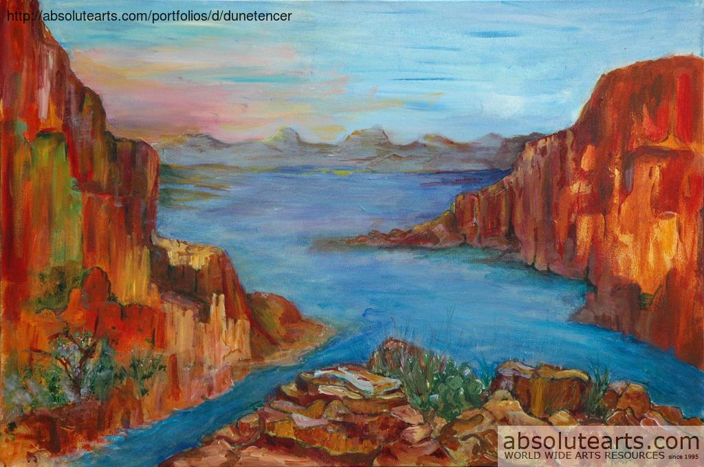 Dune Tencer Artwork Red Rocks Original Painting Acrylic