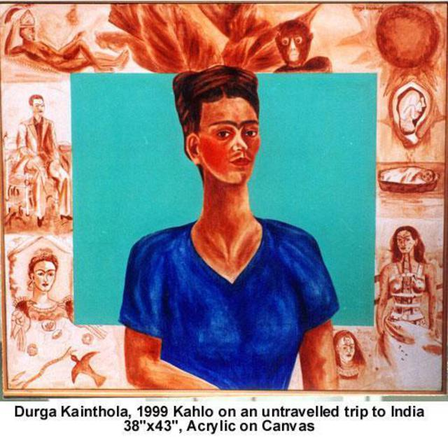 Durga Kainthola  'Kahlo On An Untravelled Trip To India', created in 1999, Original Mixed Media.