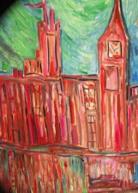 Durlabh Singh: 'Big Ben London', 2013 Oil Painting, Cityscape.       Contemporary style, vivid colours, houses of parliament, poetical , London, figurative.         ...