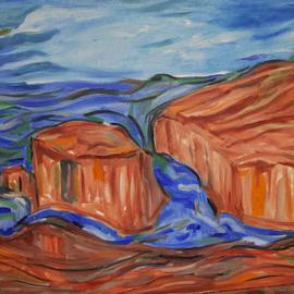 Durlabh Singh: 'Sea Scape', 2013 Oil Painting, Seascape. Artist Description:   Contemporary style, rocks, turbulent sea, contemplative, strong composition.     ...