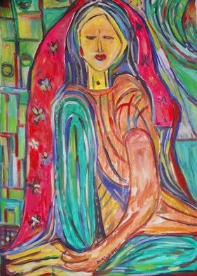 Durlabh Singh: 'The Bride', 2013 Oil Painting, People.          Contemporary style, vivid colours, expressive , innovative, figurative.            ...