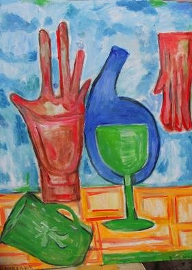 Surrealism Oil Painting by Durlabh Singh Title: Still life with glove, created in 2012