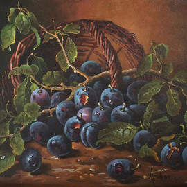 Dusan Vukovic: 'plums', 2012 Oil Painting, Still Life. Artist Description:  plums, life, still, vukovic, dusanvukovic, oil, canvas, realism...