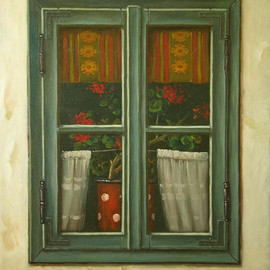 Dusan Vukovic Artwork window, 2015 Oil Painting, Architecture