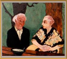 - artwork SOUP_AT_LES_COULINNES_CHAGALL__AND_WIFE_-1301240181.jpg - 1996, Painting Oil, Figurative