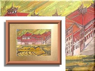 Artist: Duygu Kivanc - Title: Dzong in Thimpu - Medium: Oil Painting - Year: 1987