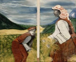 Artist: Duygu Kivanc - Title: Harvest in Bhutan - Medium: Acrylic Painting - Year: 1989
