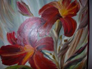 Duygu Kivanc Artwork Red Lilies, 2005 Oil Painting, Abstract