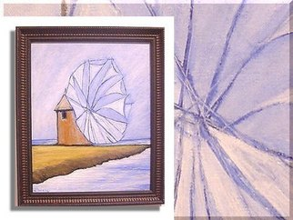 Duygu Kivanc Artwork Windmill, 2002 Oil Painting, Abstract Landscape