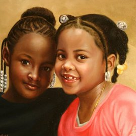 Dwayne Mitchell: 'Best Friends', 2011 Oil Painting, Portrait. Artist Description:  Children, kids, friends, girls, portraits, oil painting. .  ...
