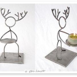 Eric Aamoth Artwork Circle Heads Deer, 2004 Steel Sculpture, Figurative