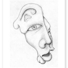 Eric Aamoth Artwork Mask, 1996 Pencil Drawing, Mask
