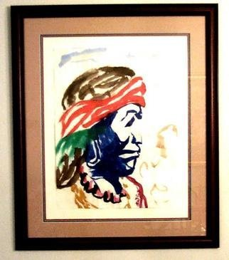 Jack Earley: 'Apache', 1990 Other Painting, Americana. This expressive portrait is painted in sumi- e ink on hand- made rice paper, with triple acid- free matting and a rich mahogany frame with uv conservation glass....