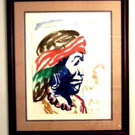 Jack Earley: 'Apache', 1990 Other Painting, Americana. Artist Description: This expressive portrait is painted in sumi- e ink on hand- made rice paper, with triple acid- free matting and a rich mahogany frame with uv conservation glass....