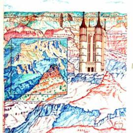 Jack Earley Artwork Cathedral in the Canyon, 1993 Pen Drawing, Landscape