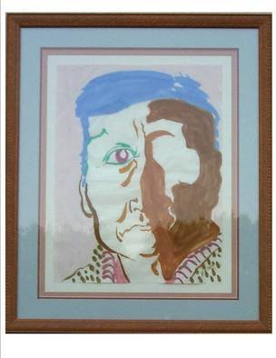 Jack Earley: 'Navaho Man', 1990 Other Painting, Americana. This portrait is painted in sumi- e ink on hand- made rice paper, with acid- free matting and a wood frame with uv conservation glass....