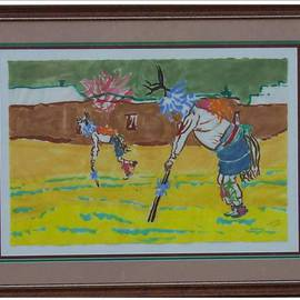 Jack Earley: 'Pueblo Deer Dancers', 1990 Other Painting, Southwestern. Artist Description: Painted in sumi- e ink on hand- made rice paper, with triple acid- free matting and a lovely wood frame with uv conservation glass....