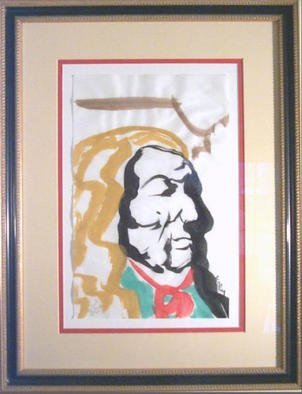 Jack Earley: 'Red Cloud', 1990 Other Painting, Americana. Red Cloud, the famous Oglala Lakota Sioux Leader. I love how he shows the same dignity of George Washington. The work is done in sumi- e ink on acid- free paper and surrounded by acid- free material for longevity. It has ultraviolet light resistant glass and a rich gold and ...
