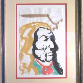 Jack Earley: 'Red Cloud', 1990 Other Painting, Americana. Artist Description: Red Cloud, the famous Oglala Lakota Sioux Leader. I love how he shows the same dignity of George Washington. The work is done in sumi- e ink on acid- free paper and surrounded by acid- free material for longevity. It has ultraviolet light resistant glass and a rich ...