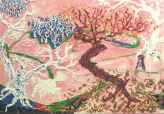 Jack Earley Artwork Sycamores and a Plum Tree, 2001 Acrylic Painting, Landscape