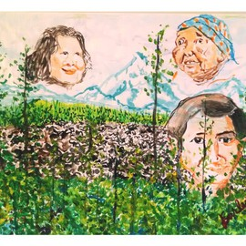 Jack Earley: 'Three Sisters', 2014 Other Painting, Indiginous. Artist Description:    This ink and watercolor painting depicts scenes from Oregon' s Wilderness Area of that name and an image of three Native American women from that region.  Paper on strecher bars, it is preserved with high quality soluvar varnish.    ...