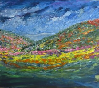 Linda Slasberg: 'Natures  Pallet', 2010 Acrylic Painting, Landscape.   acrylics on woodImpressionist painting of mountains full of flowers.Custom framed in walnut ...