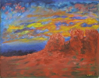 Linda Slasberg Artwork Red Rocks, 2009 Acrylic Painting, Southwestern
