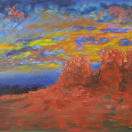 Linda Slasberg: 'Red Rocks', 2009 Acrylic Painting, Southwestern. Artist Description:  Impressionistic view of some of the red rocks in Sedona, Arizona. ...