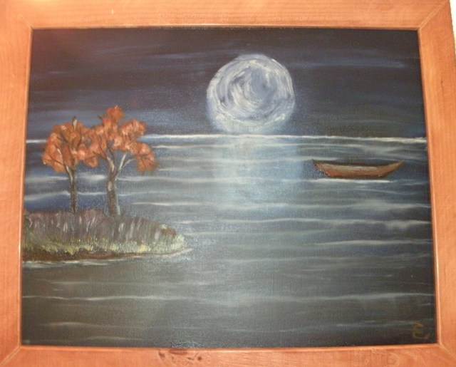 Erik Terrell  'Full Moon Reflection', created in 2011, Original Painting Oil.