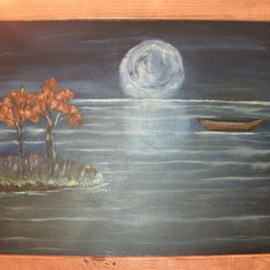 Erik Terrell: 'Full Moon Reflection', 2011 Oil Painting, Scenic. Artist Description:  Full moon setting with the reflection off the lake. The boat is a late addition to add to the scene.    ...