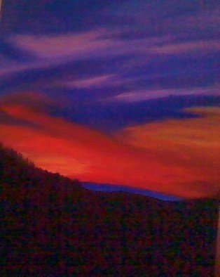 Carla Salgado: 'Hilltop Sunset', 2010 Acrylic Painting, Scenic.  I love the outdoors so this was inspired by the wonderful colors of the evening sky. This painting is on stretched canvas. ...