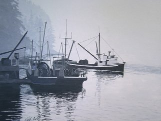 Ralph Eastland: 'Boats Unloading', 2013 Acrylic Painting, Boating.  A marinescape acrylic painting of seineboats unloading salmon at a cannery on the west coast of Canada. ...