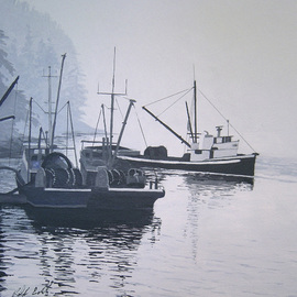 Ralph Eastland: 'Boats Unloading', 2013 Acrylic Painting, Boating. Artist Description:  A marinescape acrylic painting of seineboats unloading salmon at a cannery on the west coast of Canada. ...