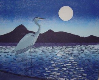 Ralph Eastland: 'Moonlight Fisherman', 1999 Woodcut, Wildlife.  Moonlight Fisherman is a hand pulled woodcut  in a edition of 250. printed from 7 woodblocks with oil based inks. Price is for a framed print contact me to inquire about unframed pricing. ...