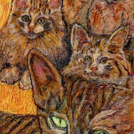 Richard Wynne: 'A whole lot of cats', 2009 Other Painting, World Conflict. Artist Description:  group portrait of cats animals painted on transparent backing representational  ...