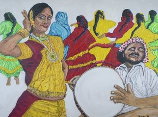 Richard Wynne: 'Bollywood Dancers', 2013 Oil Painting, Dance.          dance_ bollywood_ hindi_ figerative_ movement_ colorful_ drummer_ many dancers_ India_ movies_ indian movies_ music_ entertainment ...