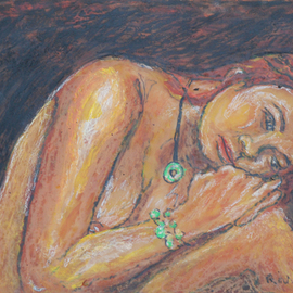 Richard Wynne: 'Day Dreamer', 2008 Other Painting, nudes. Artist Description:  I have not a lot of time to work since returning to the USA. So I am working with nudes again to practice.This was developed from sketches of a favorite Thai Model. This was painted on a transparent backing. ...