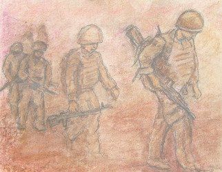 Richard Wynne: 'Desert Patrol', 2011 Pastel, Military. Artist Description:   pastel_ war_ desert_ patrol_ afganistan_ works on paper_ support our troops  ...