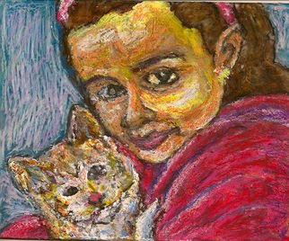 Richard Wynne: 'Girl with Kitten', 2011 Oil Painting, Portrait.    mixed mediums on  transparent backing 51/ 2 X 7