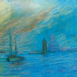Richard Wynne: 'Harbor Morn', 2006 Other Painting, Seascape. Artist Description: An early misty morning in the harbour. Nothing is clear or defined. Seemingly a magic land awaiting the sun. ...