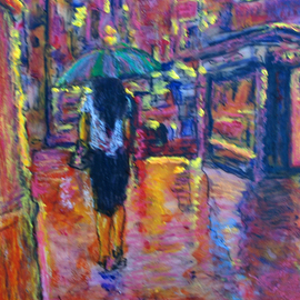 Richard Wynne Artwork Rainny Night Woman, 2009 Other Painting, Cityscape