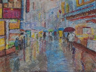 Richard Wynne: 'Rainy day market', 2010 Other Painting, Cityscape.  mixed mediums on board_ street scene_ townscape_ urban scene_ rain ...