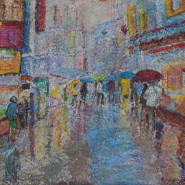 Richard Wynne: 'Rainy day market', 2010 Other Painting, Cityscape. Artist Description:  mixed mediums on board_ street scene_ townscape_ urban scene_ rain ...