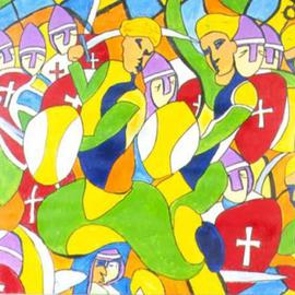 Richard Wynne Artwork Saladeen and the Crusaders, 2005 Acrylic Painting, War
