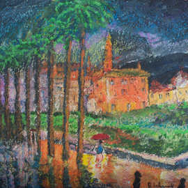 Richard Wynne: 'San Diego Rain', 2010 Other Painting, Cityscape. Artist Description:   mixed medium on canvas_ mixed medium_ representational_ face_ religious     ...