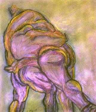 Richard Wynne: 'Sumos', 2004 Pastel, Ethnic. Like two huge whales fighting these huge athletes exert all their energy for a contest that only last a few heart beats. This is a imporatbnt part of the Japanese cultute and hertitige. ...