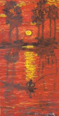 Undefined Medium by Richard Wynne titled: Sun set fishing, created in 2004