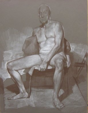 Eberhard Froehlich: 'seated model', 2018 Drawings, Nudes.